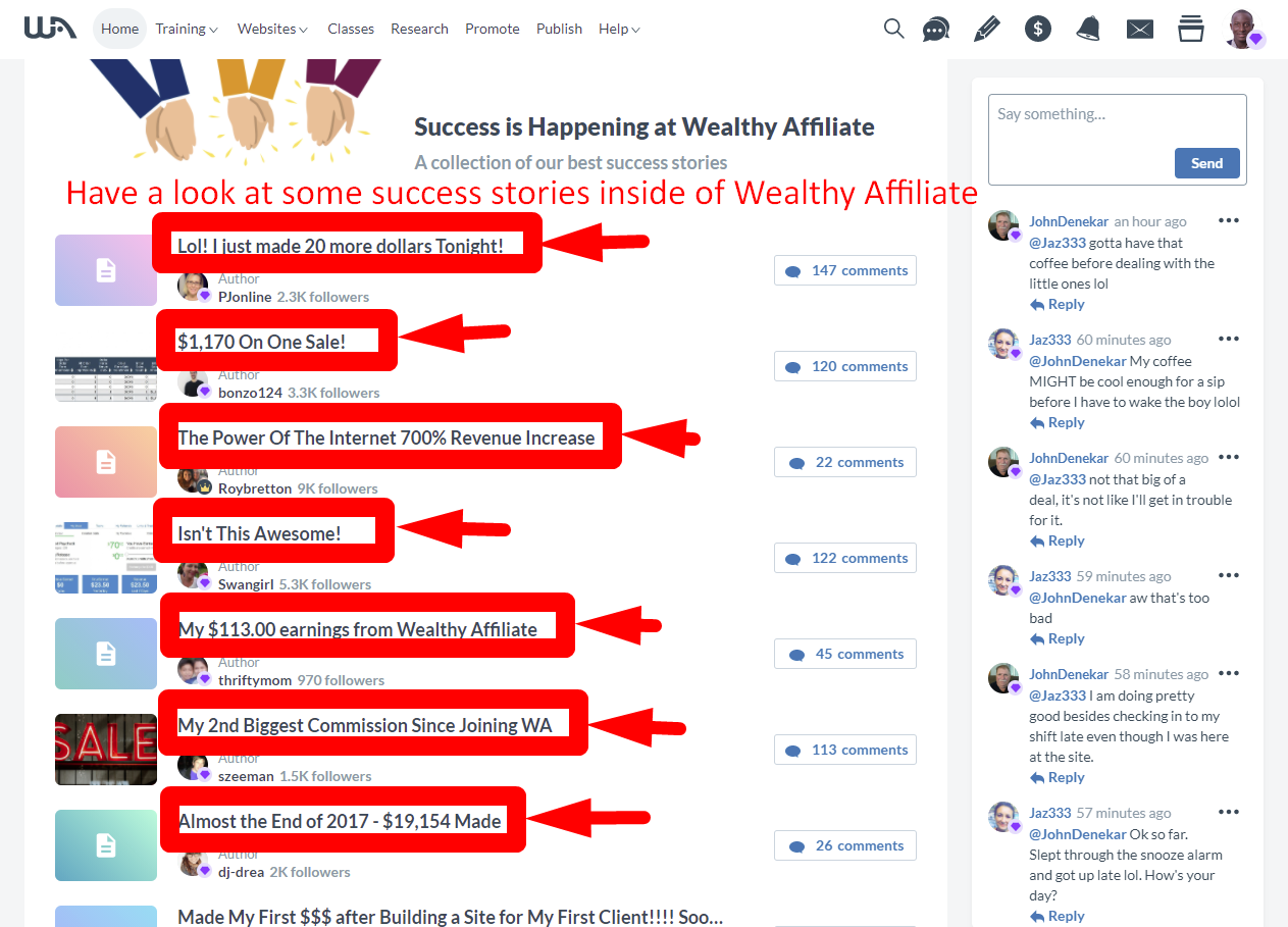 Success Is Happening Inside Wealthy Affiliate