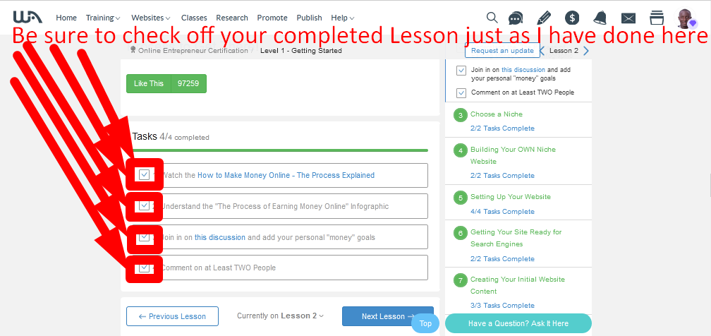 Be sure to check off your completed lesson just as I have done