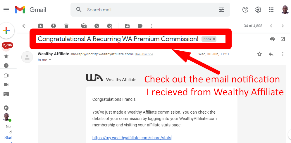 A look at the email notification I received from Wealthy Affiliate