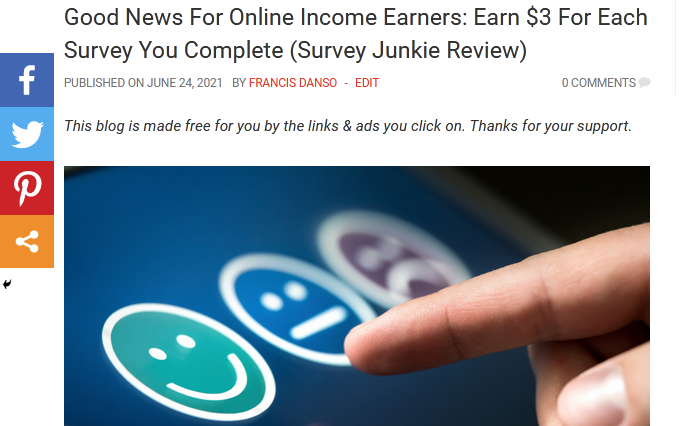 Good News For Online Income Earners: Earn $3 For Each Survey You Complete (Survey Junkie Review)