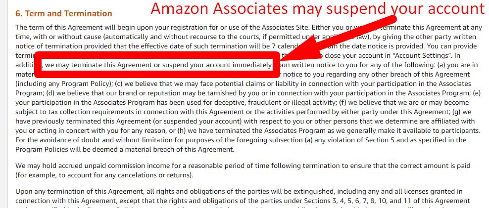 Amazon associates may terminate your account