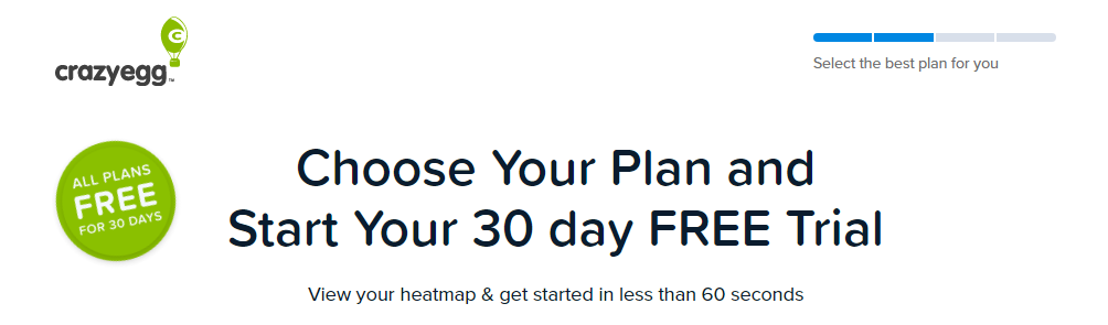 Crazy Egg comes with free 30 days trial