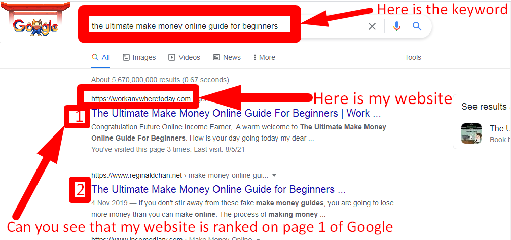 Screenshot of how Jaaxy keyword research tool got me ranked on page 1 of Google