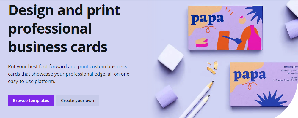 Design beautiful business cards with Canva